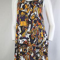 h&m 6 S Dress Tank Top Flare Skirt Crazy Cat Lady Print Modernist Art Print Cute Photo