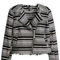 h&m Aztec Biker Blazer Jacket Size 10 Black and White Photo
