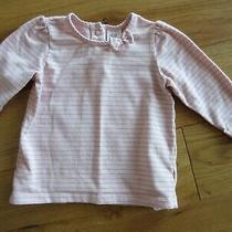 h&m Baby Girls Long Sleeved Top Pink Gold Shimmer Stripe & Bow - Size 4-6 Months Photo
