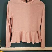 h&m Baby Pastel Pink Long Sleeve Lurex Peplum Top M Photo