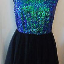 h&m Beautiful Sequin Top Tulle Bottom Cocktail Tank Dress Black Blue Green 10 Photo