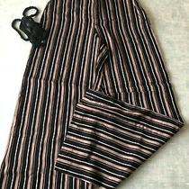 h&m Beige and Black Striped Wide Trousers Size 8 Eur 36 Photo