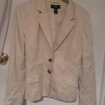h&m Beige Blazer Jacket Lined Size 8 Buttoned Cuffs Cotton/polyester as Is Photo