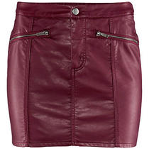 h&m Biker Imitation Leather Burgundy Ox Blood Skirt Uk 16/ Us 12/ Eur 42 Bnwt Photo