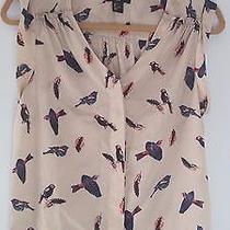 h&m Bird Sparrow Print Dress Shirt Top Cream With Multicolor Birds Us 6 /m Photo