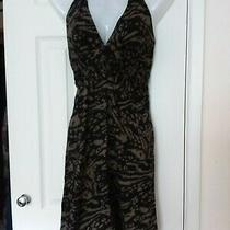 h&m Black and Gold Print Halter Dress - 100% Cotton - Us 10 Photo