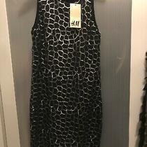 h&m Black and Silver Dress Size 6 Size Xs Photo