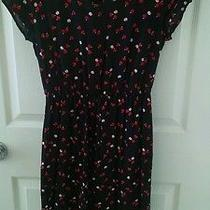 h&m Black Apple Print Dress With Pockets Size 6 Baby Doll Style Photo