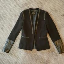 H & M Black Blazer Suit Coat Jacket 6 Womens With Leather Detail Photo