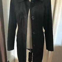 h&m Black Cotton Mid Length Trench Jacket Pea Coat 6 Small Xs Euc  Photo