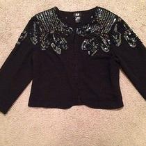 h&m Black Cropped Sheer Beaded Beads Dressy Sequin Jacket Over Shirt Cardigan S Photo