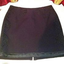 h&m Black Embroidered Mini Skirt Size 4 Designed Short Sexy Club Party Event  Photo