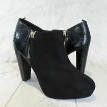 h&m Black Faux Suede With Croc Trim Side Zip Platform Heel Ankle Boots Size 8 Photo