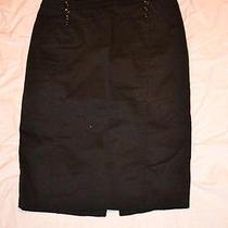 H & M Black Front Button Stretch Cotton Pencil Knee Length Skirt Women 8 Photo
