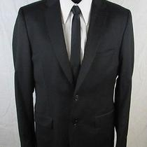 h&m Black Jacket 40r Men Slim Fit Two Button Dual Vent Style Sportscoat/blazer Photo