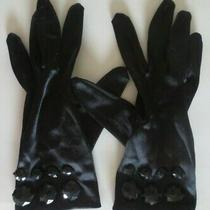 h&m Black One Size Nylon & Spandex Dressy Gloves W/bead Embellishment at Wrist Photo