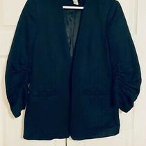 h&m Black Scrunched Sleeve Black Blazer Size 8 Open Front Great Condition Photo