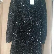 h&m Black Sequin Dress Bnwt Xs 6 8 Photo