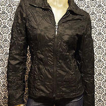 h&m Black W Floral Detail Zipper Front Collar Jacket Coat Womens Small Used Photo