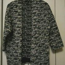 H & M Black/white Textured Open Front Jacket Xs Photo
