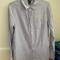 h&m Blue & Red Stripe Dress Shirt - Size 8 With Free h&m Yellow Xs Crop Tank Photo
