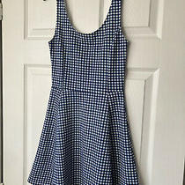 h&m Blue & White Checked Gingham Skater Dress Size 8 Photo