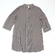 h&m Blush Pink & Black Gingham Plaid Shirt Balloon Sleeve Dress - Women's Size 4 Photo