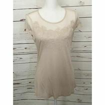 h&m Blush Pink Floral Lace Detail Top Roses Size L Nwt Photo