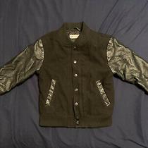h&m Bomber Faux Leather Wool Blend Jacket Black Baseball Size 4-5 Y Photo