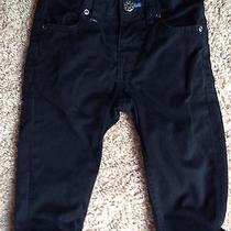 h&m Boys Pants Jeans Black W/royal Blue Cuff Lining Size 9-12 Mos Excellent Photo