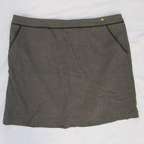 H & M Brown W Tiny Checks Mini Skirt Size 10.  ----73b Photo