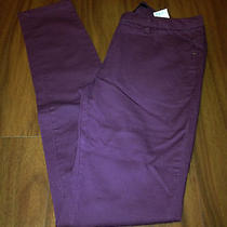 h&m Burgundy Mid Rise Bandage Bodycon Skinny Jeans Pants 4 Nwot Photo
