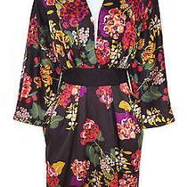h&m Conscious Dress 12 Satin Recycled Polyester Kimono Tie Back Floral Photo