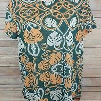 h&m Conscious Women's Medium M Short Sleeve Green Gold Shirt Top Blouse Euc Photo