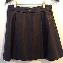 h&m Cos & Other Stories Purple Label Black Leather Mini Aline Skirt Sz 6 Sm Med Photo