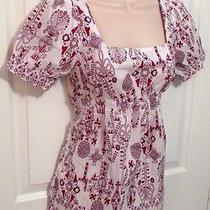 H & M Cotton Blouse White W/ Purple & Red Design Size Eur 34 Us 4 Made Sweden Photo