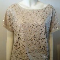 h&m Cream/gold Sequin Top Size Small  Photo