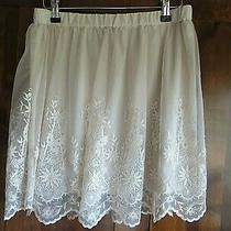 h&m  Cream  Lace Net Mini Skirt Size 14 Boho  Photo