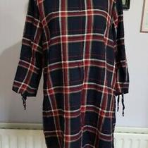 h&m Dark Blue Red Large Check Checked Pattern Dress Size 12 14 100% Cotton  Photo