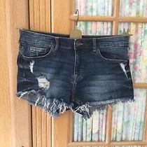 H & M Denim Shorts Size 8 Blue Ripped Effect Frayed Hem Hardly Worn  Photo