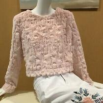 h&m Divided Brand Size 12 Faux Fur Blush Pink Top Blouse Shirt Sweater M L Mint Photo