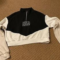 h&m Divided Crop Sweatshirt Usa United Black White Tan Small Photo