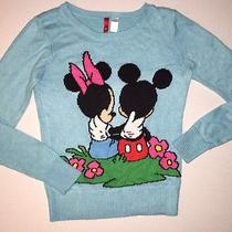 h&m Divided Disney Mickey Minnie Sweater Sz 10 Aqua Photo