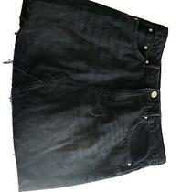 h&m Divided Mini Jean Skirt Size 10 Black Denim Frayed Hem Black Photo