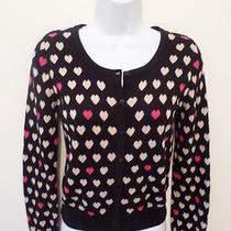 h&m Divided Women's S Black Cotton Cardigan Sweater With Hearts  Bust 34  Photo