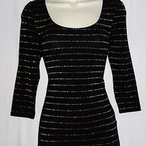 h&m Divided Women Top Size 6 Black Gold Metallic Stripe Scoop Neck 3/4 Sleeve Photo