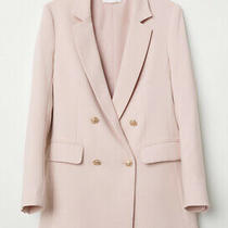 h&m Double Breasted Blazer Jacket Pink With Gold Hardware Size Eur 36 (Uk8) Photo