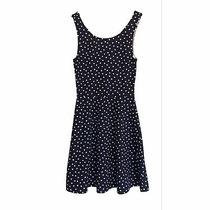 h&m Dress Size 2 Fit  Flared Divided Sleeveles Blue White Polka Dots Skater Mini Photo