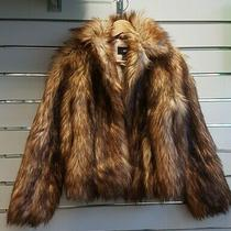 h&m Faux Fur Coat Orange / Brown Size Xs - Used Excellent Condition Photo