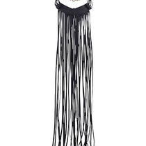 h&m Festival Long Fringes Black Imitation Suede Necklace Bnwt Photo